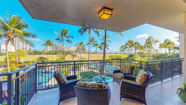 Furnished Lanai with view of Pool