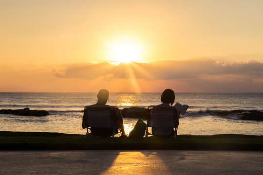 Picture of a Couple Watching the Sunset on the Beach.