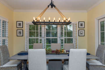 The dining room table seats 8
