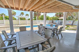 Dining area by pool