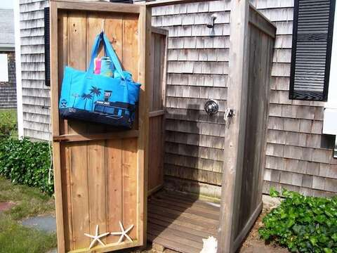 Fully enclosed outdoor shower with hot and cold water - 54 Hiawatha Road Harwich Port Cape Cod New England Vacation Rentals