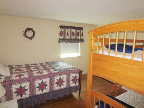 Bedroom #3 with a Double bed and set of Twin Bunks - 26 Ridgevale Road South Harwich Cape Cod New England Vacation Rentals