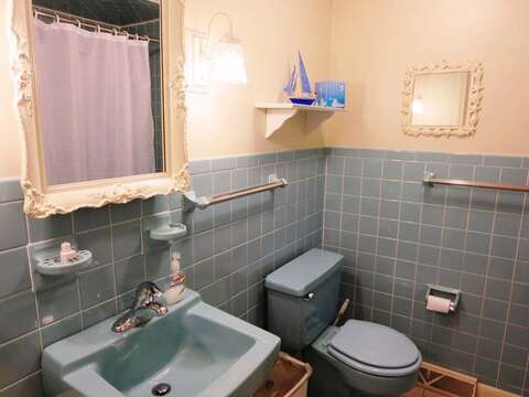 Bathroom #2 is located off of the hall and offers a tub and shower - 26 Ridgevale Road South Harwich Cape Cod New England Vacation Rentals