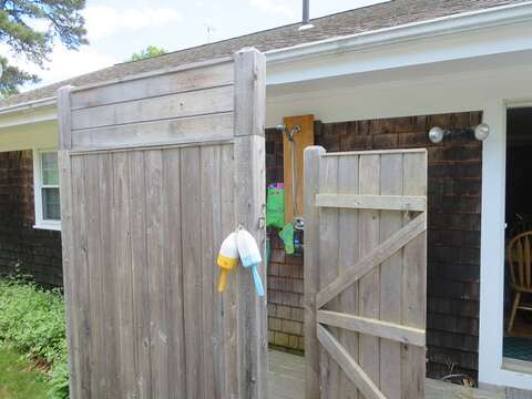 Enclosed outdoor shower with hot and cold water! - 26 Ridgevale Road South Harwich Cape Cod New England Vacation Rentals
