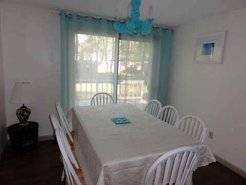 Dining room with sliders to the back deck - 22 Happy Way Harwich Cape Cod New England Vacation Rentals