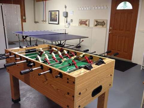 Lower level with Ping Pong and Fooseball - 13 Monomoy Circle Chatham Cape Cod New England Vacation Rentals