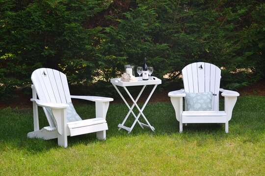 Private and Quiet area of the yard to enjoy a drink and a snack- 13 Monomoy Circle Chatham Cape Cod New England Vacation Rentals
