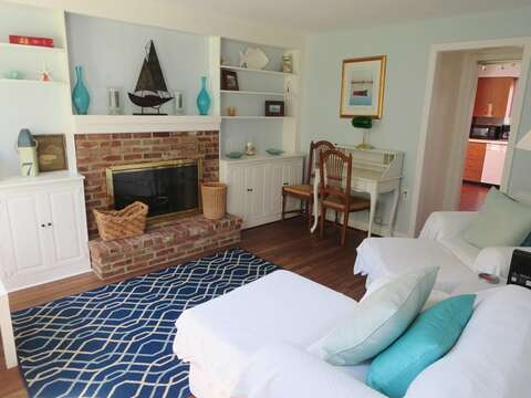 Family Room with comfortable seating and desk to write out your postcards- 13 Monomoy Circle Chatham Cape Cod New England Vacation Rentals