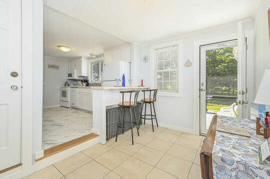 Side entry into the Newly remodeled Kitchen with eat at counter- 54 Hiawatha Road Harwich Port Cape Cod New England Vacation Rentals