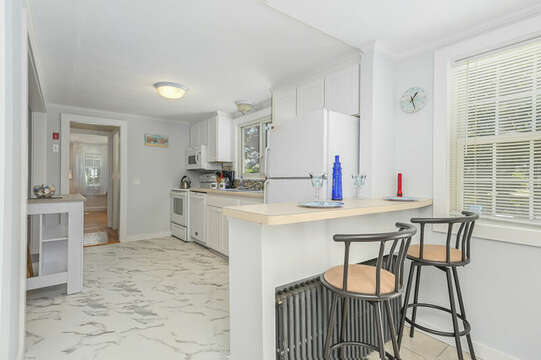 Seating for 2 at the counter- 54 Hiawatha Road Harwich Port Cape Cod New England Vacation Rentals