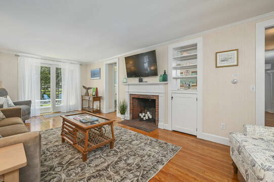 Living room with new slider to back yard-54 Hiawatha Road Harwich Port Cape Cod New England Vacation Rentals