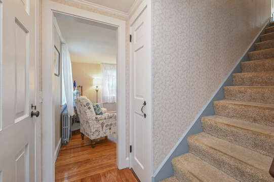 Front door with stairs to second floor-54 Hiawatha Road Harwich Port Cape Cod New England Vacation Rentals