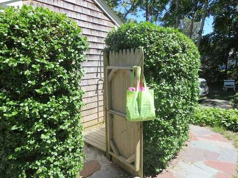 Enclosed Outdoor Shower with hot and cold water - 104 Deep Hole Road South Harwich Cape Cod New England Vacation Rentals