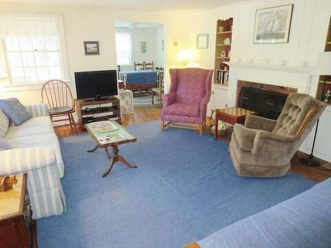 Living Room with Flat Screen TV - 104 Deep Hole Road South Harwich Cape Cod New England Vacation Rentals