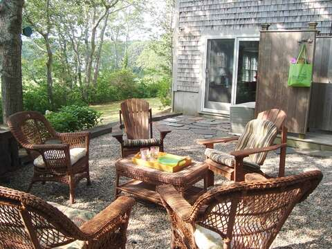 Lower level patio with outdoor shower-easy access from game room - 138 Soundview Avenue Chatham Cape Cod New England Vacation Rental