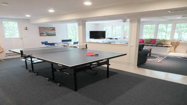 Lower Level Game Room-With  Ping Pong and plasma TV - 138 Soundview Avenue Chatham Cape Cod New England Vacation Rentals