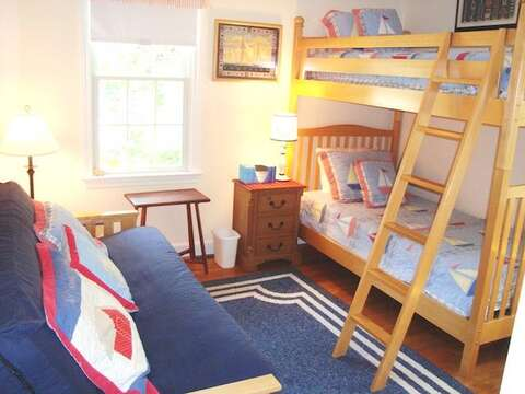 Bedroom #3 with set of Twin Bunks and Double Futon 1st floor - 138 Soundview Avenue Chatham Cape Cod New England Vacation Rentals