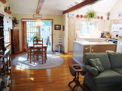 Open floor plan with living area, dining, and kitchen  - 11 Cranwood Road Harwich Cape Cod New England Vacation Rentals