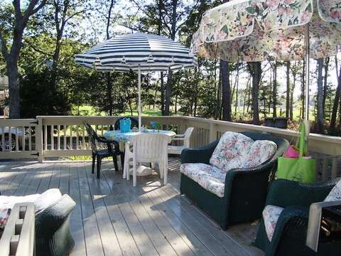 Large deck off the back with gas grill and dining - 11 Cranwood Road Harwich Cape Cod New England Vacation Rentals