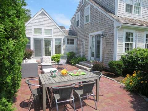 Enjoy outdoor dining on the private patio - 14 Ivy Lane Chatham Cape Cod New England Vacation Rentals
