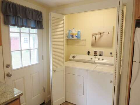 Washer/dryer tucked away in the kitchen - 37 Jacqueline Circle West Yarmouth Cape Cod New England Vacation Rentals