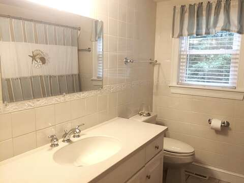 Bathroom 1 with an extra large shower located off of the hall - 37 Jacqueline Circle West Yarmouth Cape Cod New England Vacation Rentals