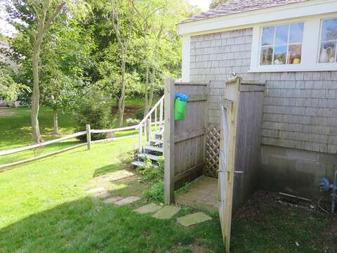 Outdoor shower enclosed - hot and cold water - 49 Pleasant Lake Avenue Harwich Cape Cod New England Vacation Rentals