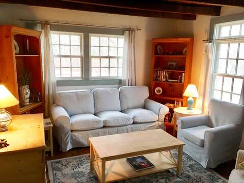 Seaside living area, comfortable seating. Central AC throughout home - 49 Pleasant Lake Avenue Harwich Cape Cod New England Vacation Rentals
