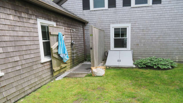 Outdoor shower -enclosed with hot and cold water -38 Pleasant Street Harwich Port Cape Cod New England Vacation Rentals