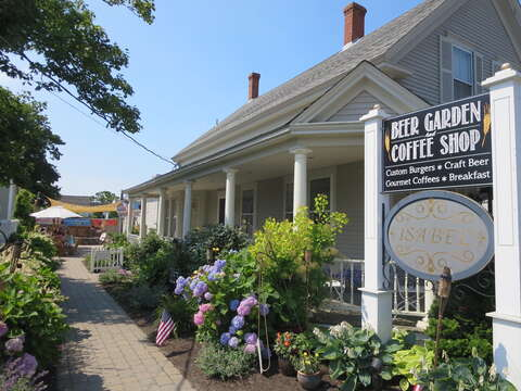 Grab your morning coffee at Perks or stop by their beer garden with a firepit in the evening - Harwich Port Cape Cod New England Vacation Rentals