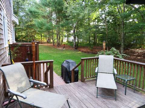 Lounge on the deck- or take a couple steps to the outdoor shower! Enclosed - hot and cold water. 12 Alonzo Road South Harwich Cape Cod New England Vacation Rentals