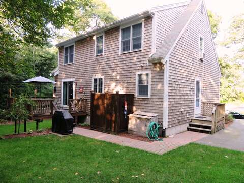 Nice back yard space and outdoor deck with Gas grill!  12 Alonzo Road South Harwich Cape Cod New England Vacation Rentals