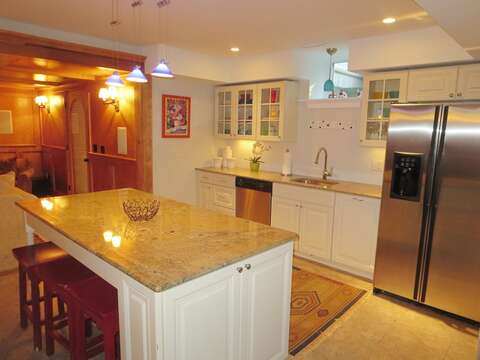Lower level media room and 2nd kitchen/bar area - 14 Hallett Lane Chatham Cape Cod New England Vacation Rentals