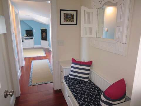 Entry to main floor Bedroom #1 with full en suite bath and sliders to deck - 14 Hallett Lane Chatham Cape Cod New England Vacation Rentals