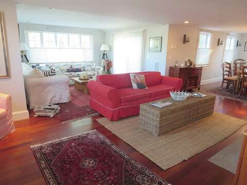 Spacious open living area with plenty of seating - 14 Hallett Lane Chatham Cape Cod New England Vacation Rental
