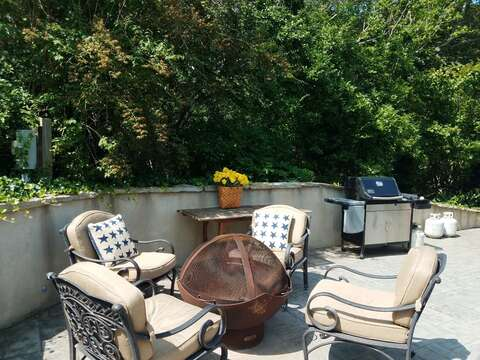 Fire pit on patio-