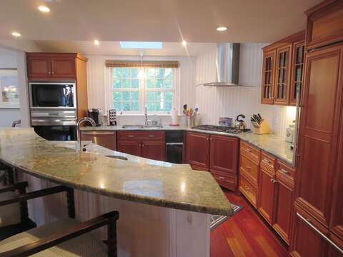Custom kitchen with 2 dishwashers and dining for total of 14 with breakfast bar - 14 Hallett Lane Chatham Cape Cod New England Vacation Rentals
