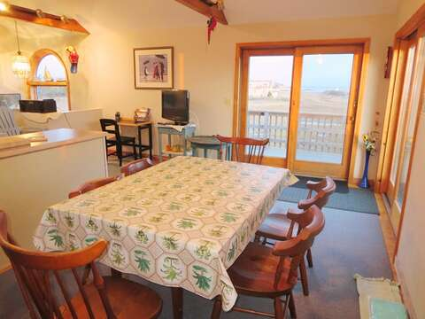Open dining area with sliders to the deck - 17 Uncle Venies South Harwich Cape Cod New England Vacation Rentals