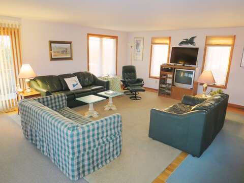 Open living room on the 1st floor with a flat screen TV and WiFi - 17 Uncle Venies South Harwich Cape Cod New England Vacation Rentals
