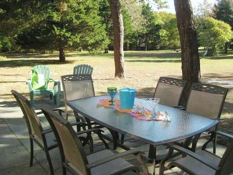 Outdoor furniture with gas grill - 28 Sears Point Road Chatham Cape Cod New England Vacation Rentals