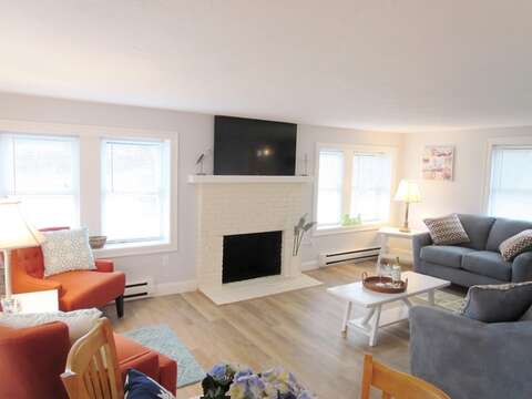 Another view of living room with flat screen TV and WiFi from dining area - 15 Oyster Drive Chatham Cape Cod New England Vacation Rentals