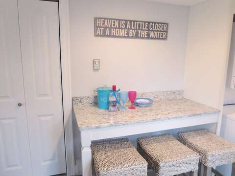 Snack bar with 3 stools - 15 Oyster Drive Chatham Cape Cod New England Vacation Rentals
