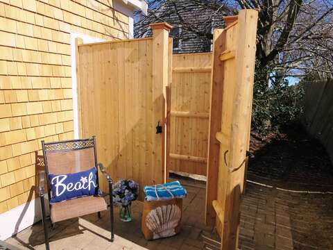 Enjoy a Cape Cod tradition - the outside shower with hot and cold water awaits you after your day at the beach! 15 Oyster Drive Chatham Cape Cod New England Vacation Rentals