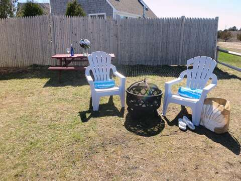 Sit out by the fire pit in the evening - roast marsh mellows and enjoy the memories of the day! 15 Oyster Drive Chatham Cape Cod New England Vacation Rentals