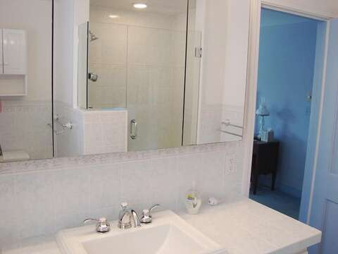 Bathroom #1 -completely updated-Ensuite with Shower - Waterfront North Chatham Cape Cod New England Vacation Rentals