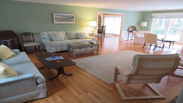 Full view of Living room-out to the dining room-Waterfront North Chatham Cape Cod New England Vacation Rentals