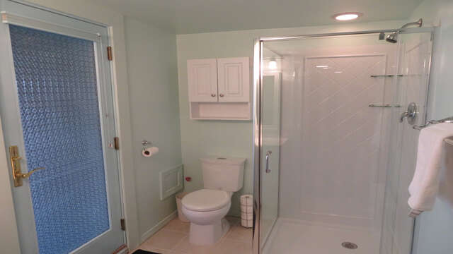 Lower level full bath with Shower- Waterfront North Chatham Cape Cod New England Vacation Rentals