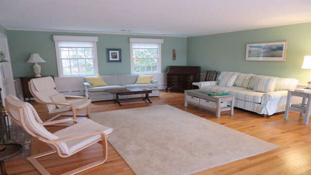 Comfy seating in living room-Waterfront North Chatham Cape Cod New England Vacation Rentals