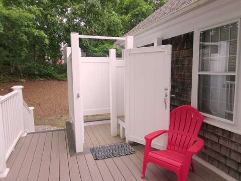 Enclosed outdoor shower - 122 Tracy Lane Brewster Cape Cod New England Vacation Rentals