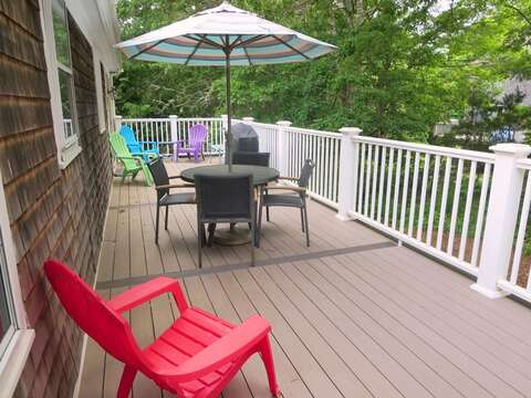 Deck conveniently located of kitchen/ dining area with gas grill - 122 Tracy Lane Brewster Cape Cod New England Vacation Rentals
